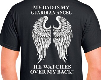 aaffb58f51e3e Dad Guardian Angel Shirts - Plus Size Loss of Dad Memorial Gift In Loving  Memory of Dad Gift Angel Wings Memorial Shirts