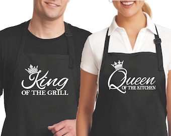 d5aa94c9cf His And Hers Aprons Couples Aprons Matching Aprons King Of The Grill Queen  Of The Kitchen Anniversary Gift Bridal Shower Gift Wedding Gift