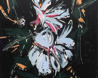 Hibiscus Dreaming || Flower Painting || Original Art by Aidan Weichard || 90cm x 90cm