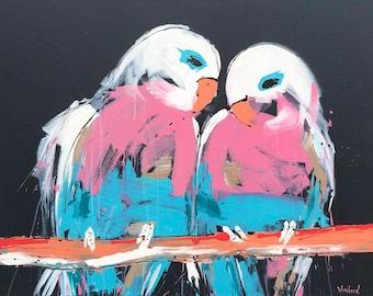 Budgy Painting | Art by Aidan Weichard | Original Painting - 101cm x 101cm - Wall Art - Bird Art