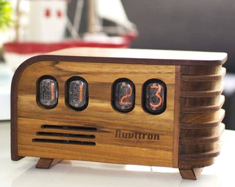 BEST SELLING Vintage Nixie Tube Clock - Art Deco design with Nixie tubes made in the Cold War Era - Nixie Clock handcrafted by Nuvitron