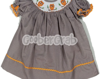 Orange Owl Smock Dress