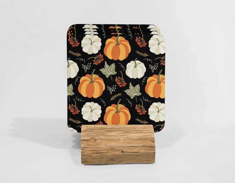Housewarming Gift Kitchen Gifts Coaster Set Gift for Friend Fall Gifts for her Cute Coasters Fall Pumpkin Coasters Set of 4 with Stand