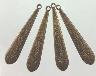 Antiqued Brass drops, 35mm long
