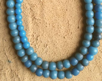 5mm to 6mm turquoise blue Prosser African trade beads, 22 inch strand (#1)