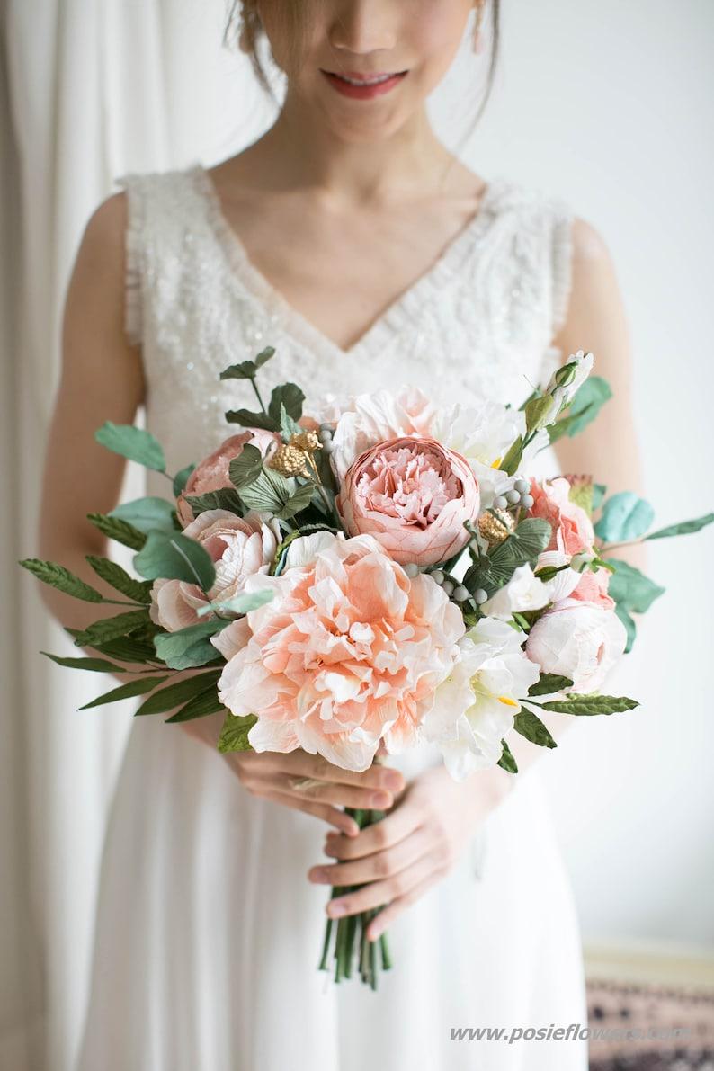 Diameter 9 Hand Tied PEACH Paper Bridal Bouquet   Boho image 0