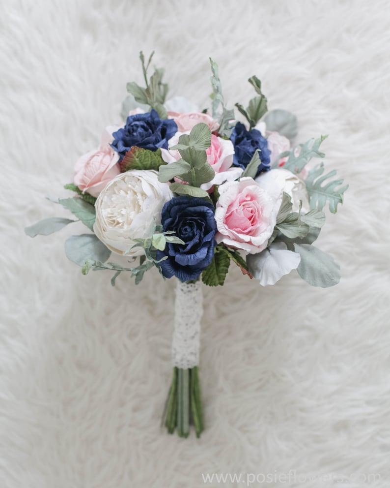Diameter 9 Bespoke Light Pink/&Navy Blue Hydrangea Rose Anemone Bridal Round Paper Bouquet Alternative Wedding, Purple
