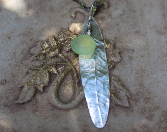 Silver Leaf Necklace, Silver Willow Leaf Necklace, Peridot Necklace, Chalcedony Necklace, Artisan Necklace, Leaf Necklace
