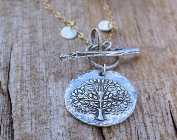 Sterling Silver Tree of Life Toggle Necklace, Silver and Gold Necklace, Tree of Life Necklace, Tree Necklace, Artisan Necklace