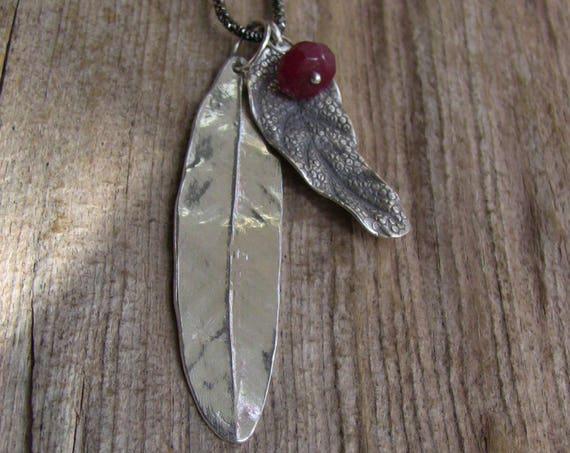 Sterling Silver Willow Leaf Necklace, Leaf Necklace with Gemstones, Long Silver Leaf Necklace, Silver Leaf Necklace, Willow Necklace