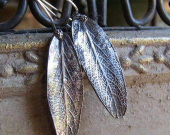 Sterling Silver Sage Earrings, Artisan Earrings, Silver Leaf Earrings, Botanical Earrings, Leaf Earrings, Sterling Leaf Earrings