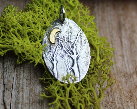 Sterling Silver Forest Pendant, Enchanted Forest Jewelry, Tree Jewelry, Gold and Silver Jewelry, Celestrial Jewelry