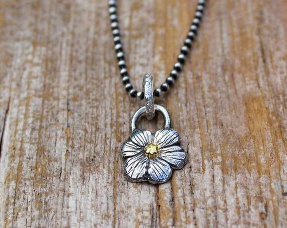 Sterling Silver Forget Me Not Flower Necklace, Floral Necklace, Flower Necklace, Artisan Flower Necklace