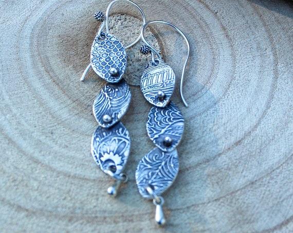 Sterling Silver Rivet Earrings, Artisan Earrings, Botanical Earrings, Hill Tribe Earrings
