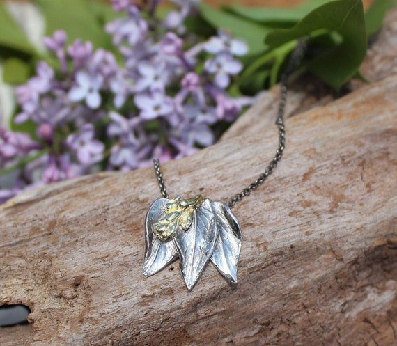 Sterling Silver and Gold Lilac Necklace, Lilac Necklace, Garden Necklace, Leaf Necklace, Botanical Necklace, Artisan Necklace