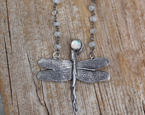 Sterling Silver Dragonfly Necklace, Rainbow Moonstone Necklace, Artisan Necklace, Gemstone Necklace
