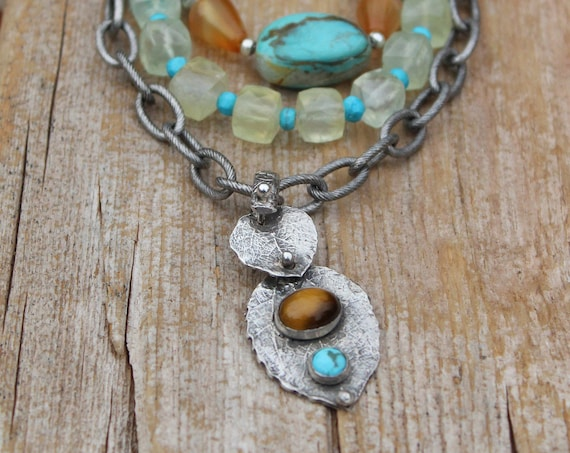 Sterling Silver Leaf Necklace with Tiger Eye & Turquoise Stones, Leather Necklace, Multi Layer Necklace