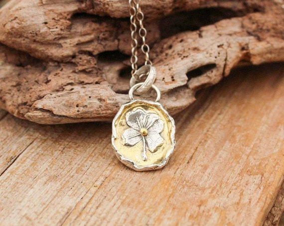 Sterling Silver Four Leaf Clover Necklace, Luck Necklace, Four Leaf Clover Necklace, Clover Necklace, Gold and Silver Necklace