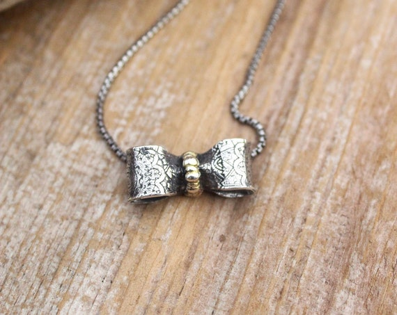 Sterling Silver and Gold Bow Necklace, Be Present Necklace, Symbolic Necklace, Artisan Necklace, Handmade Necklace