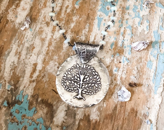 Sterling Silver Tree of Life Necklace, Tree Necklace, Opal Necklace, Artisan Necklace, Nature Necklace, Symbolic Necklace, Family Necklace