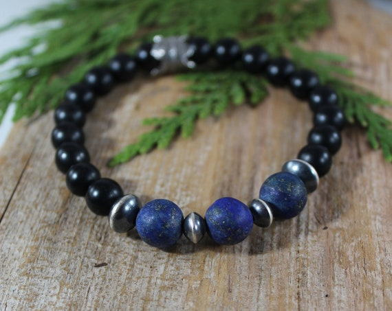 Men's Bracelet, Men's Oak Leaf Bracelet, Navajo Pearl Bracelet, Lapis Bracelet, Artisan Bracelet for Men, Black Onyx Bracelet for Men