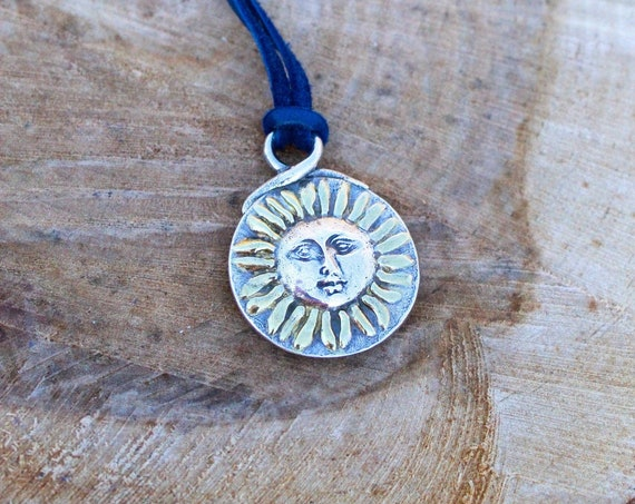 Silver Moon Necklace, Gold Sun Necklace, Reversible Necklace, Gold Star Necklace, Leather Necklace, Celestial Necklace