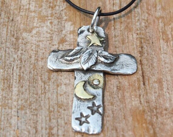 Nature's Cross, Silver Cross Necklace, Artisan Cross Necklace, Sterling Leaf Necklace, Gold Star Necklace, Gold Moon Necklace