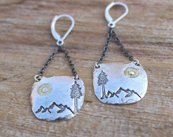 Silver Mountain Earrings, Silver Nature Earrings, Artisan Earrings,  Gold Sun Earrings, Silver Tree Earrings, Charm Earrings