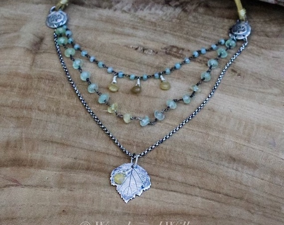 Aquamarine Necklace, Green Goddess Necklace, Sterling Leaf Necklace, Multi-Layered Necklace, Artisan Necklace, Maple Leaf Necklace