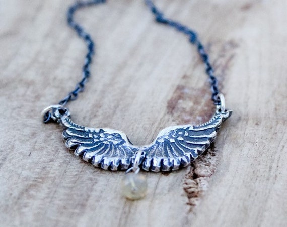 Silver Angel Wing Necklace, Angel Necklace, Artisan Necklace, Opal Necklace, Sterling Angel Wing Necklace, Feather Necklace