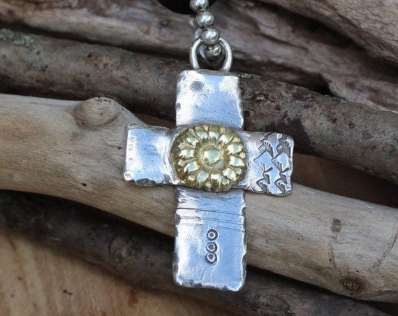 Silver Cross Necklace, Cross Necklace, Leather Cross Necklace, Artisan Cross Necklace, Gold Flower Necklace