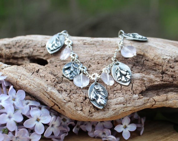 Sterling Silver Lilac Charm Necklace, Garden Necklace, Rose Quartz Necklace, Flower Bud Necklace