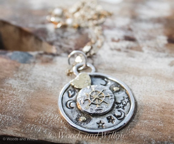 Silver Compass Necklace, Gold Heart Necklace, Celestial Necklace, Moon Necklace, Star Necklace, Artisan Necklace, Sun Necklace