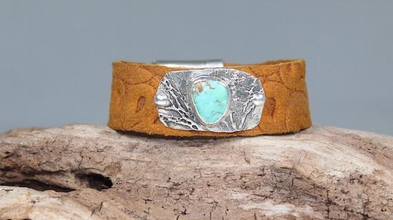 Treetops Bracelet, Sterling Silver Bracelet, Leather Bracelet, Turquoise Bracelet, Artisan Made Bracelet