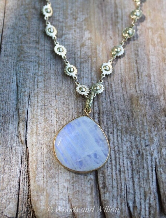 Gold Sun Necklace, Rainbow Moonstone Necklace, Moon Necklace, Artisan Necklace, Sun Jewelry