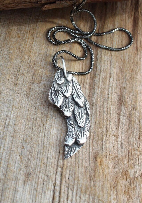 Silver Angel Wing Necklace, Angel Necklace, Feather Necklace, Handmade Angel Wing Necklace