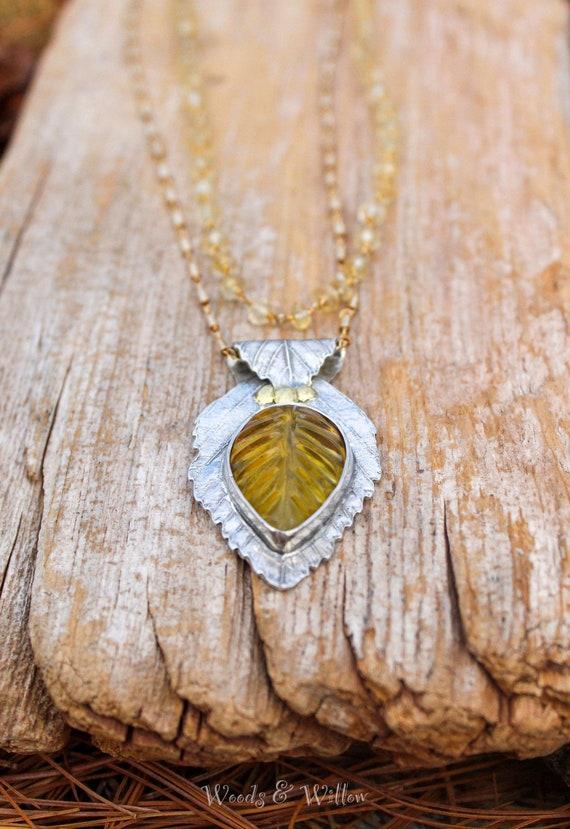 Sterling Silver Amber Leaf Necklace, Citrine Necklace, Beech Leaf Necklace, Artisan Necklace, Long Leaf Necklace