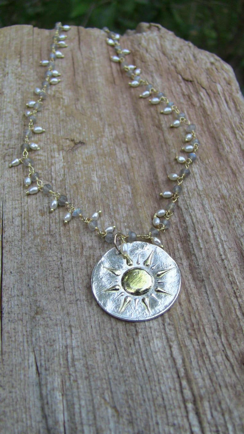 Pearl Necklace Labradorite Necklace Celestrial Necklace Sterling Silver Sunburst Necklace Sun Necklace