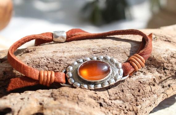 Sterling Silver Hessonite Garnet Leather Bracelet, Wrap Bracelet, Artisan Stone Bracelet, Handmade Bracelet