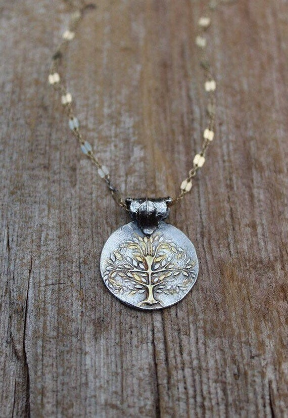 Silver and Gold Tree of Life Necklace, Tree of Life Necklace, Woodland Necklace, Two Toned Necklace, Artisan Tree of Life Necklace