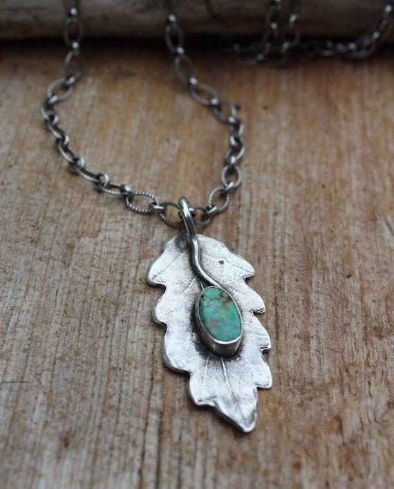 Sterling Leaf Necklace, Oak Leaf Necklace, Turquoise Necklace, Silver Leaf Necklace, Woodland Necklace, Artisan Necklace