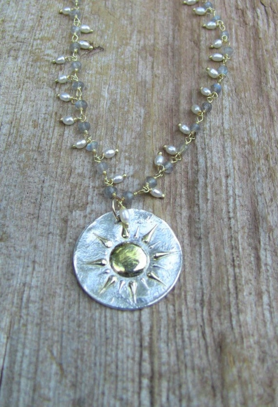 Sterling Silver Sunburst Necklace, Sun Necklace, Pearl Necklace, Celestrial Necklace, Labradorite Necklace