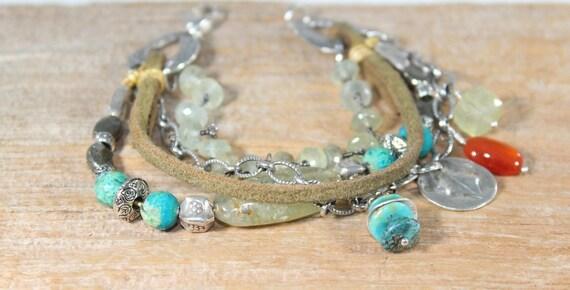Silver Bracelet, Multi Layer Bracelet, Artisan Bracelet, Turquoise Bracelet, Leather Bracelet, Boho Bracelet, Beaded Bracelet