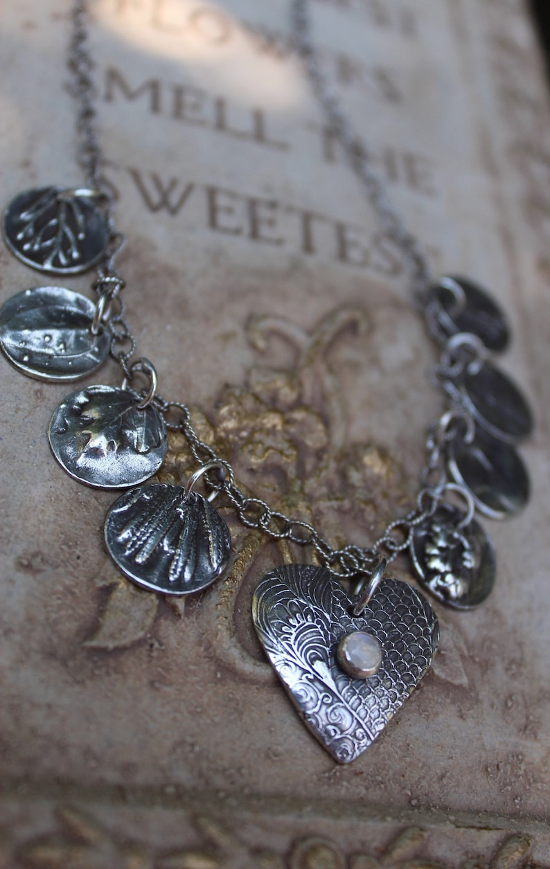 Heart Necklace Artisan Necklace Silver Leaf Necklace SECRET GARDEN NECKLACE Meaningful Necklace Moonstone Necklace