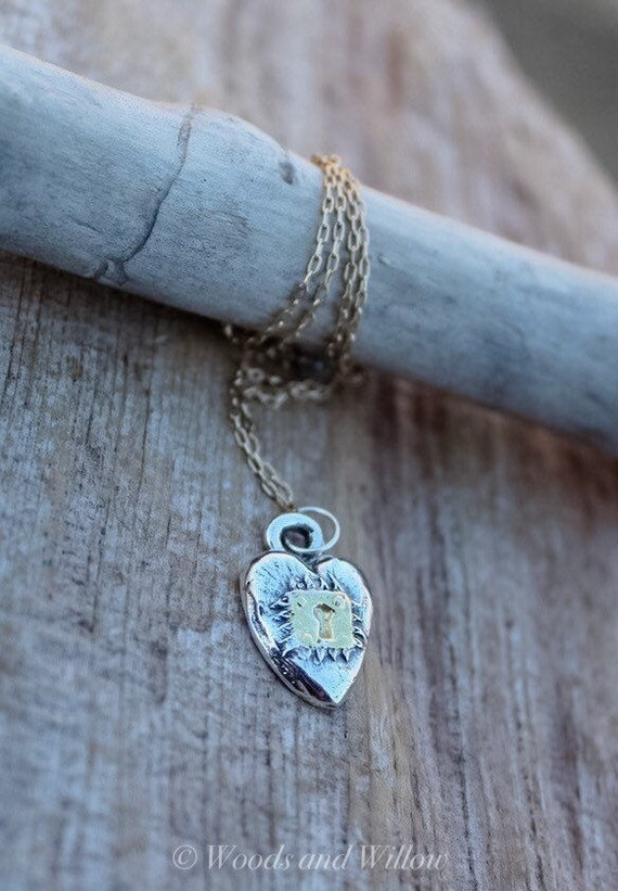 Sterling Silver Heart Necklace, Puffed Heart Necklace, Heart Locket Necklace, Love Necklace, Artisan Heart Necklace, Gold Heart Necklace