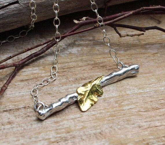 Sterling Silver Branch Necklace, Horizontal Branch Necklace, Gold Leaf Nedklace, Two Toned Necklace, Botanical Necklace, Artisan Necklace
