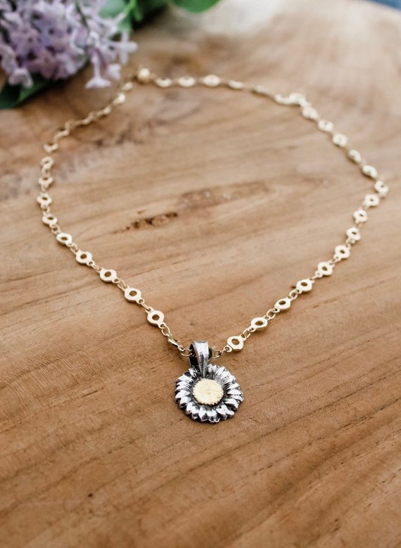 Sterling and Gold Daisy Necklace, Flower Necklace, Artisan Floral Necklace, Gold Flower Necklace