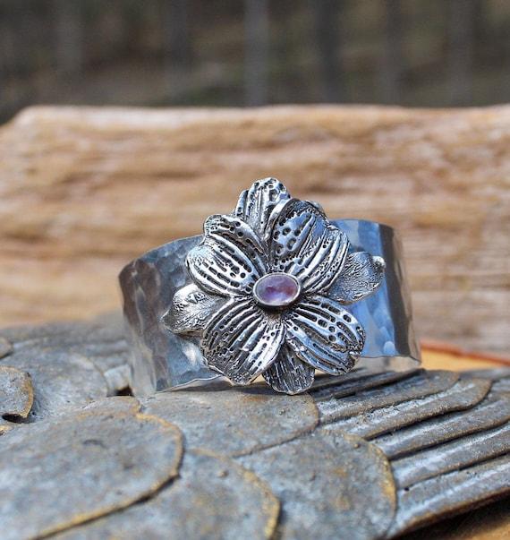 Sterling Silver Dogwood Blossom Cuff, Flower Cuff, Rainbow Moonstone Cuff, Flower Bracelet