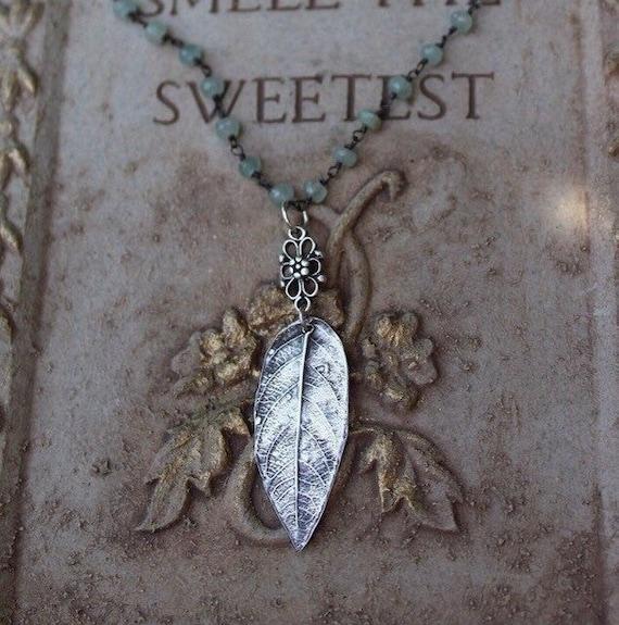 Sterling Silver Leaf Necklace, Aquamarine Necklace, Artisan Necklace, Leaf Charm Necklace