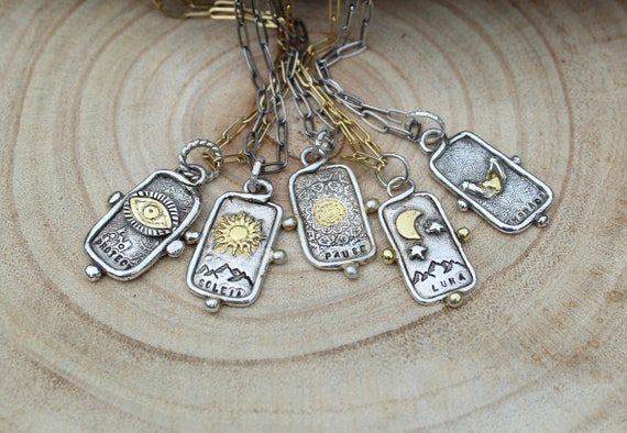 Sterling Silver and Gold Tarot Card PENDANT ONLY